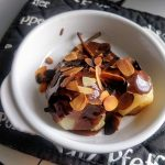 Steamed pear with choco sauce and roasted almond2