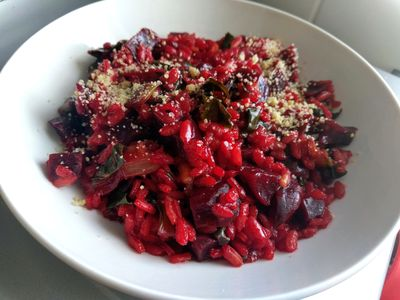beetroots and spinach risotto 42