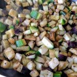 Brown rice pasta with courgette and eggplant 22