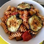 Brown rice pasta with courgette and eggplant 42